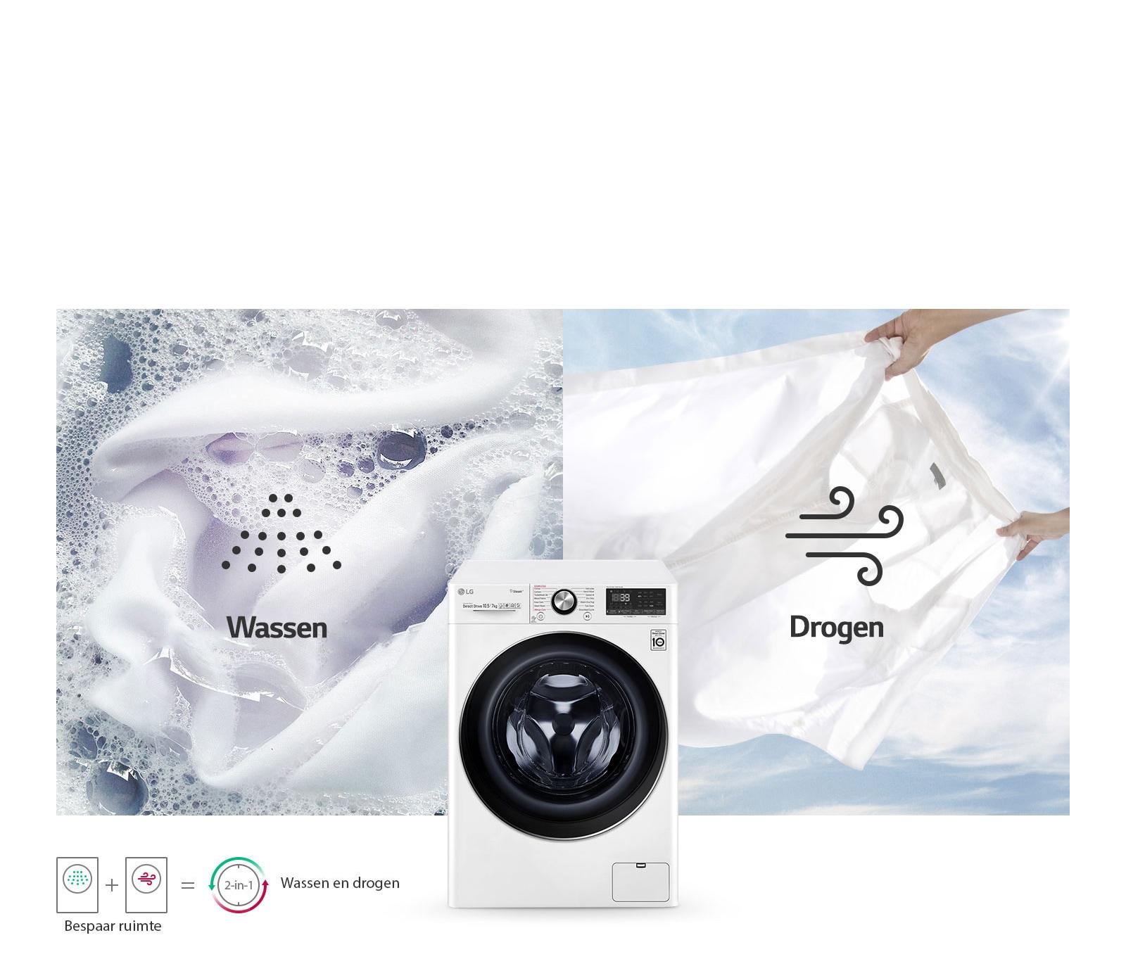 Wasmachine en wasdroger in een1