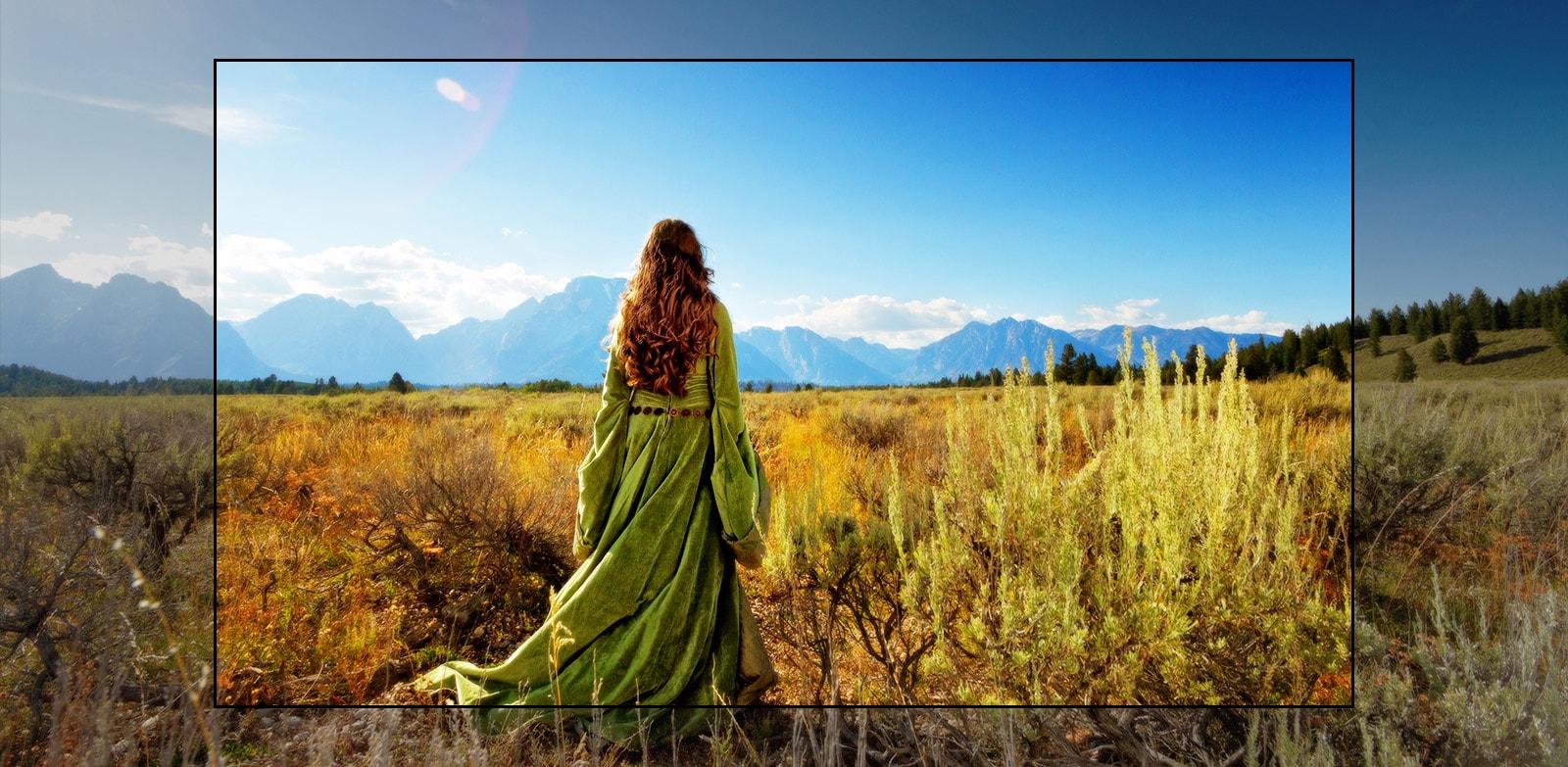Een tv-scherm met een scène uit een fantasiefilm met een vrouw die in de velden staat met uitzicht op de bergen.