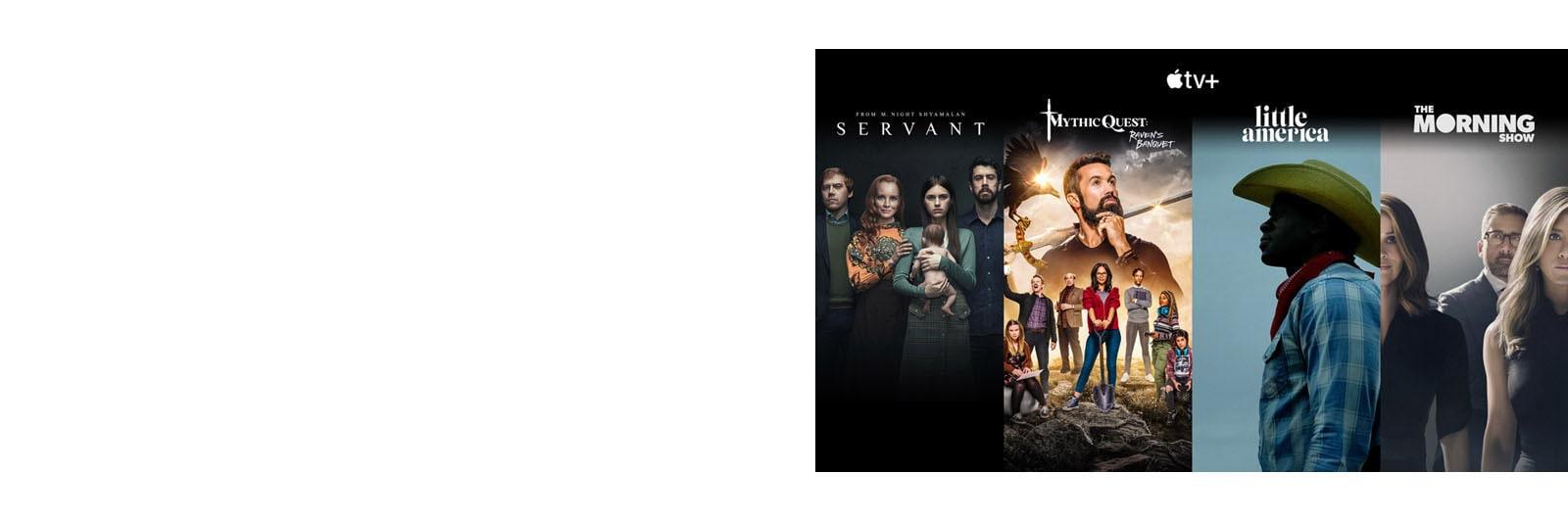 Miniaturas de los 4 títulos principales de Apple TV+