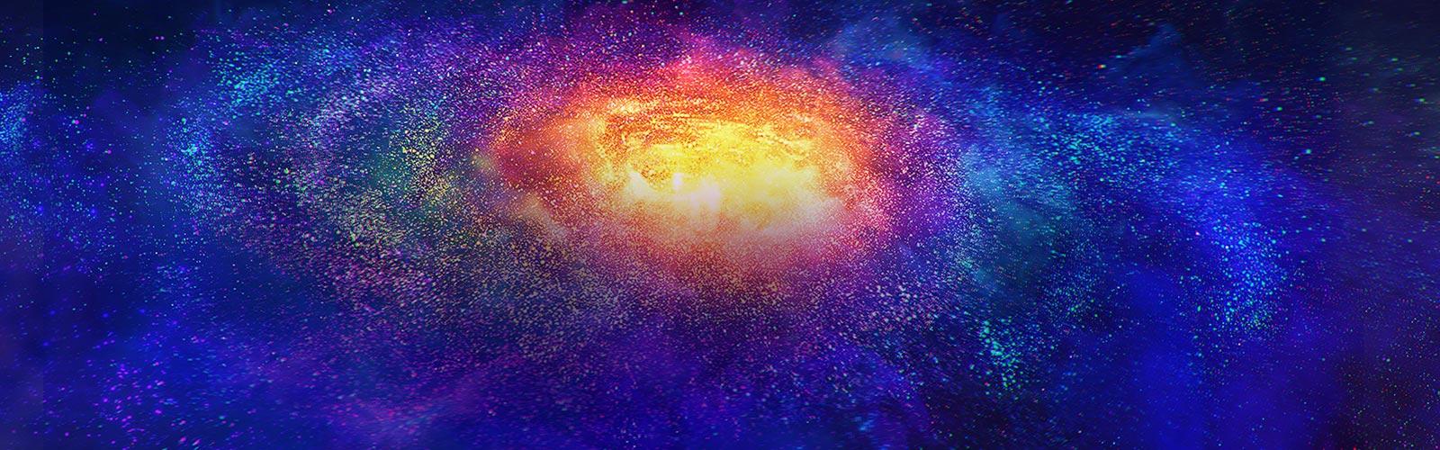 Millones de pequeñas partículas coloridas en el espacio.
