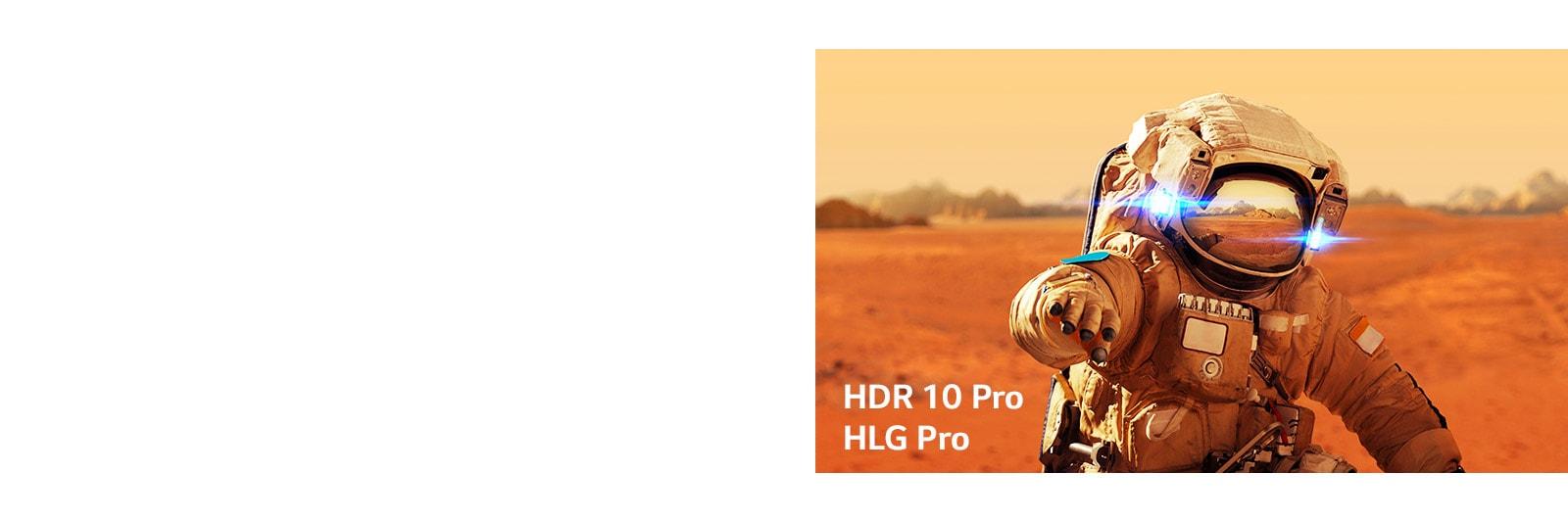 Marvel Iron Man, tarjetas de título con los logotipos HLG pro y HDR 10 Pro