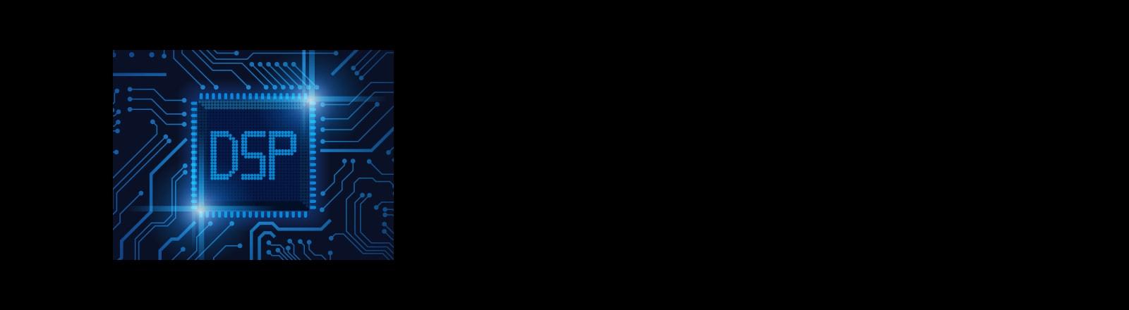 """Imagen de un chip semiconductor con un texto """"DSP"""""""
