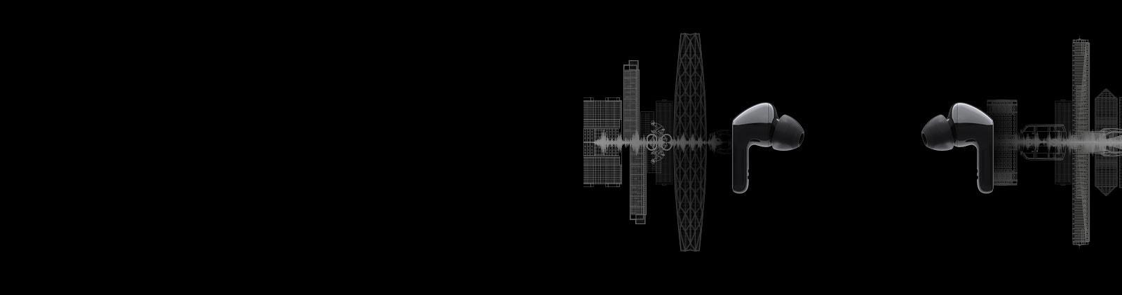 Imagen de dos audífonos uno frente al otro y una silueta de un paisaje urbano se ilustra detrás de cada audífono