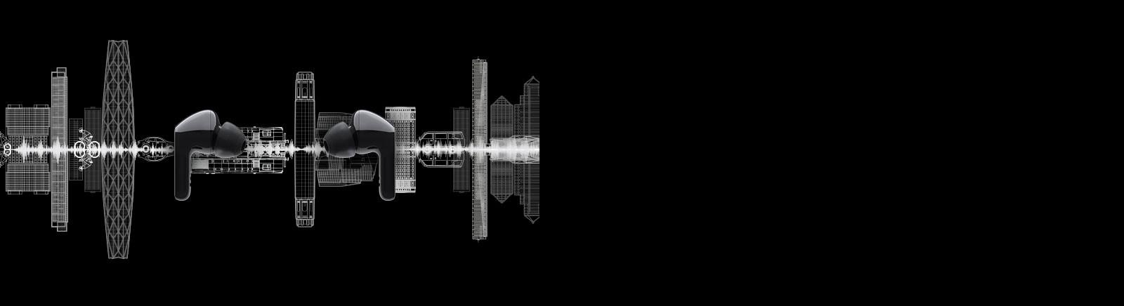 En el fondo se ilustra una imagen de dos audífonos uno frente al otro y una silueta de un paisaje urbano.