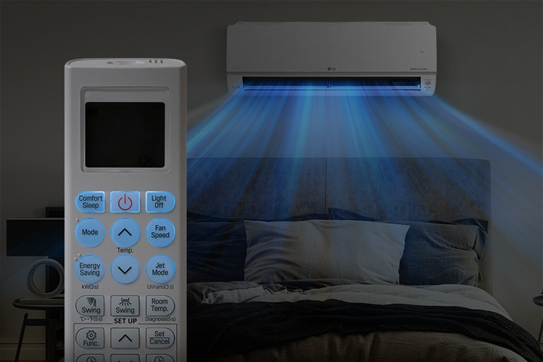 A dark image of a bed at night shows the air conditioner installed on the wall and blue air blowing out over the bed. In the foreground is the front of the remote control showing the buttons and temperature as they are highlighted in blue for easy viewing in the dark.