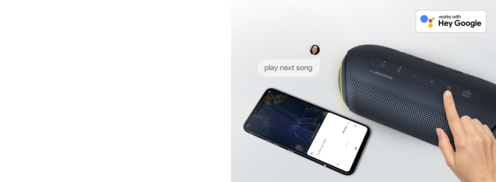 A hand presses a button on LG XBOOM Go. A smartphone is next it. There's a speech bubble. Google's logo is in the top right.