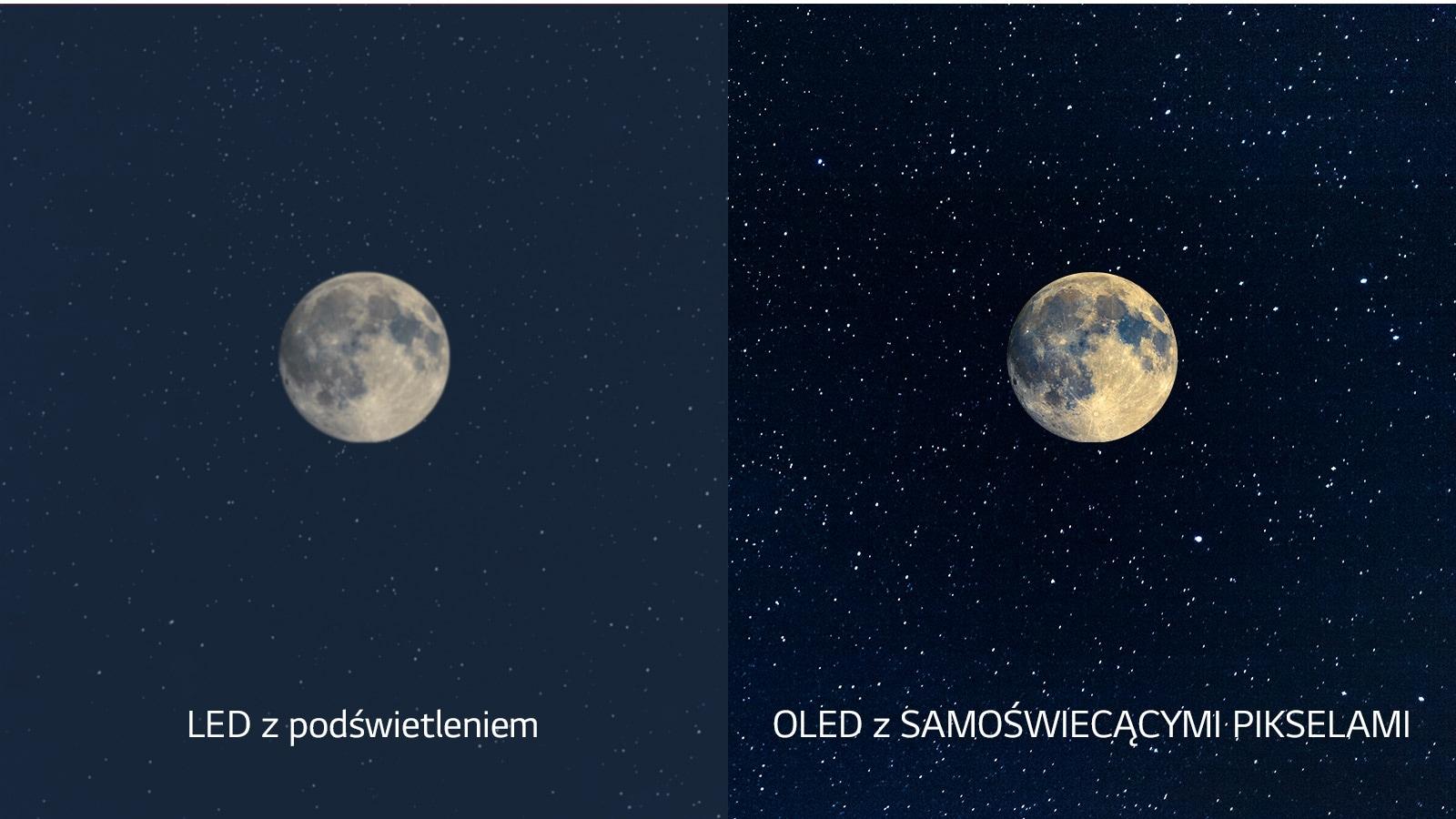 Scena księżyca, dioda LED po lewej stronie z niewyraźną czernią i OLED po prawej z idealną czernią (obejrzyj wideo)