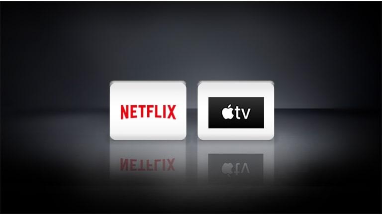 Logo Netflix i Logo Apple ułożone poziomo na czarnym tle.