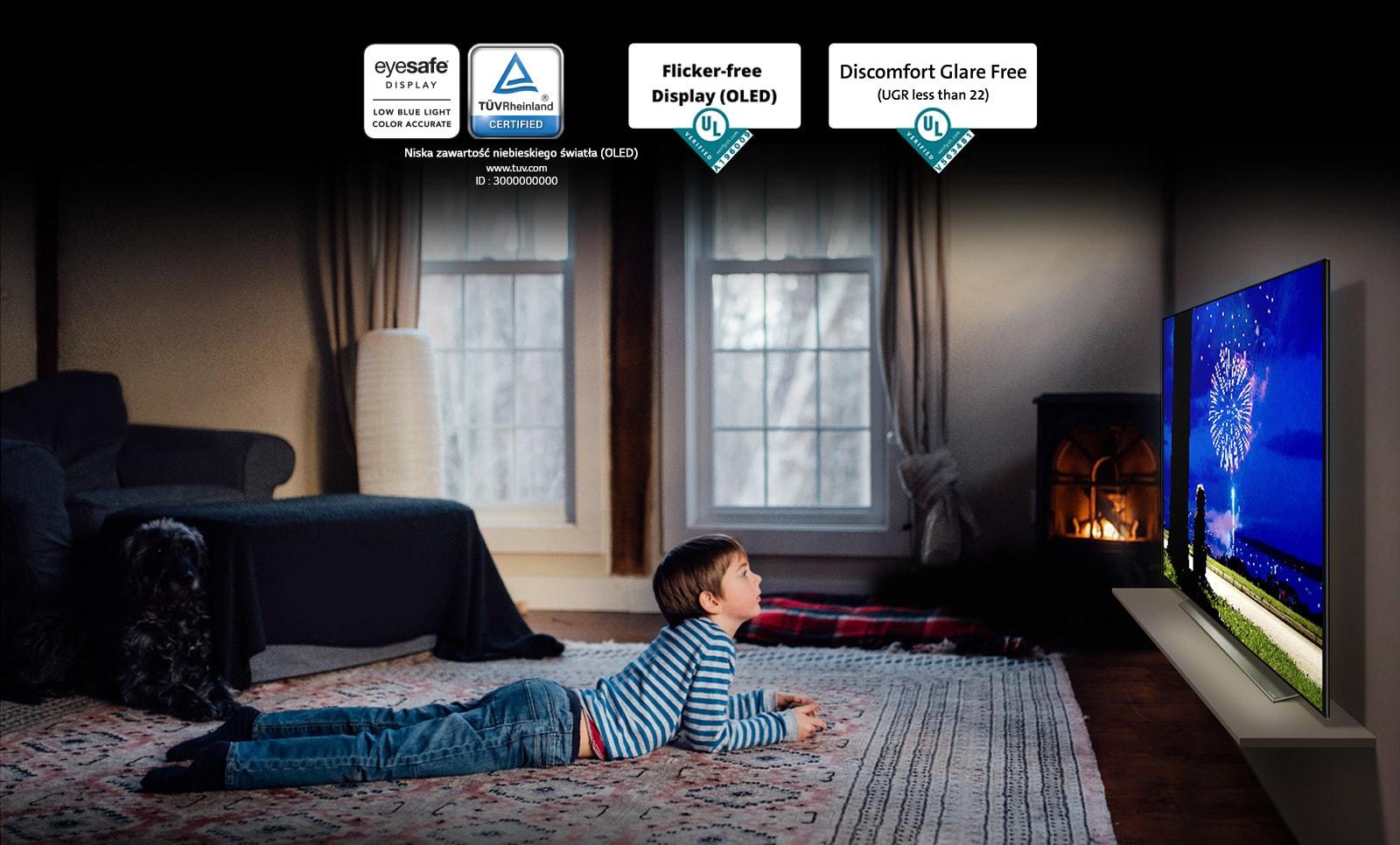 """To jest karta opisująca certyfikat """"Eye Comfort Display"""". To jest scena przedstawiająca chłopca oglądającego telewizję leżąc na brzuchu. Cztery logo obok certyfikatu """"Eye Comfort Display""""."""