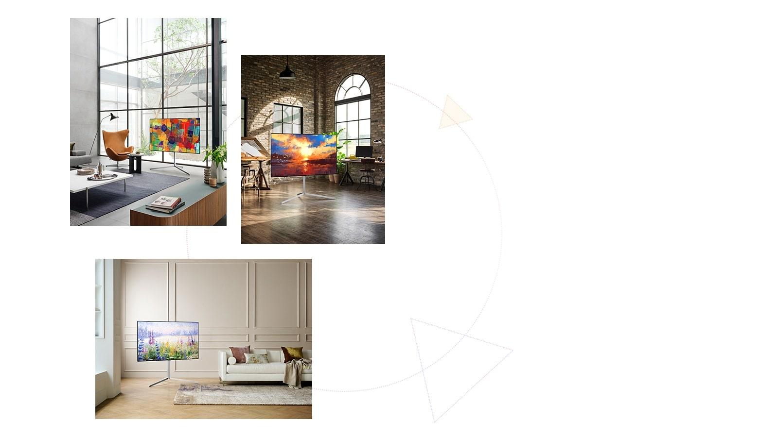 Trzy telewizory Gallery Design z podstawą, mogące pełnić rolę dzieła sztuki w każdym miejscu.