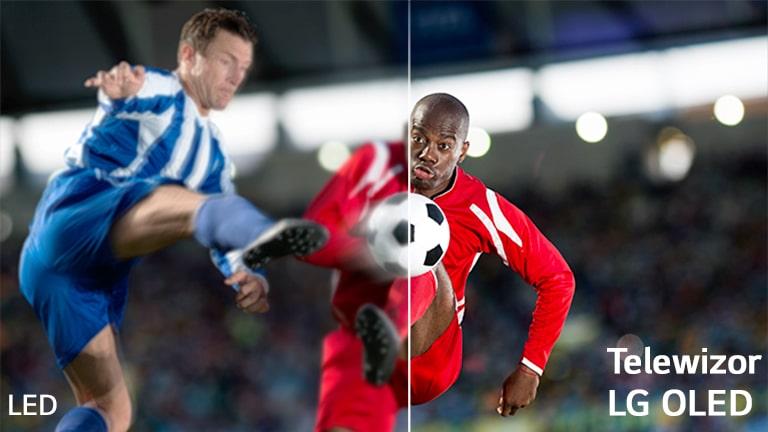 Scena z meczu piłkarskiego podzielona na dwie części dla porównania. W lewym dolnym rogu obrazu znajduje się napis LCD/LED, a w prawym dolnym rogu – logo LG OLED.
