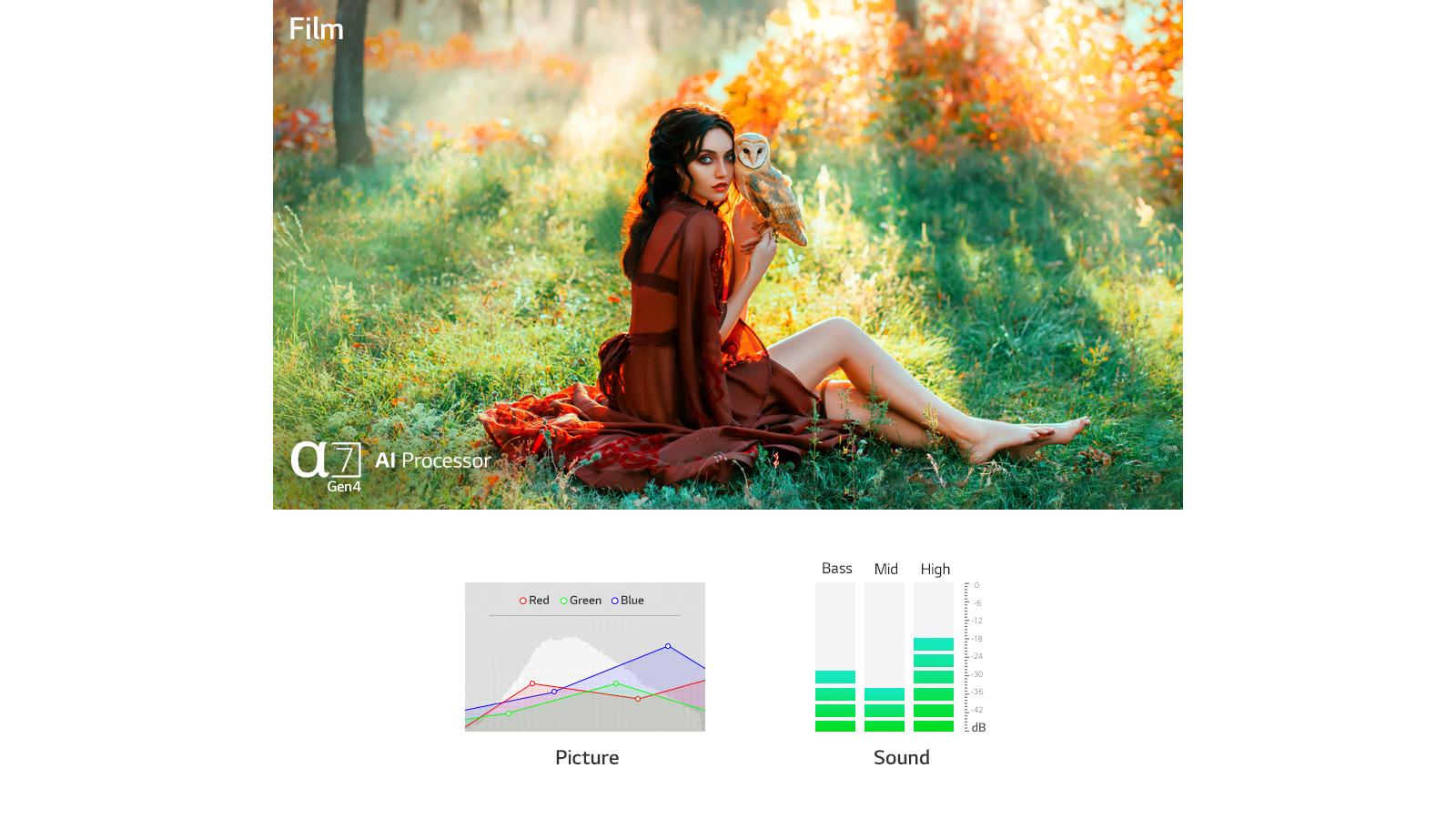 Dwie sceny automatycznie optymalizowane pod względem dźwięku i obrazu przez procesor a7 Gen4 AI (odtwórz film)