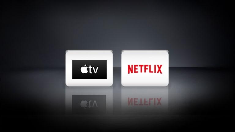 Loga Netflix i Apple ułożone poziomo na czarnym tle.