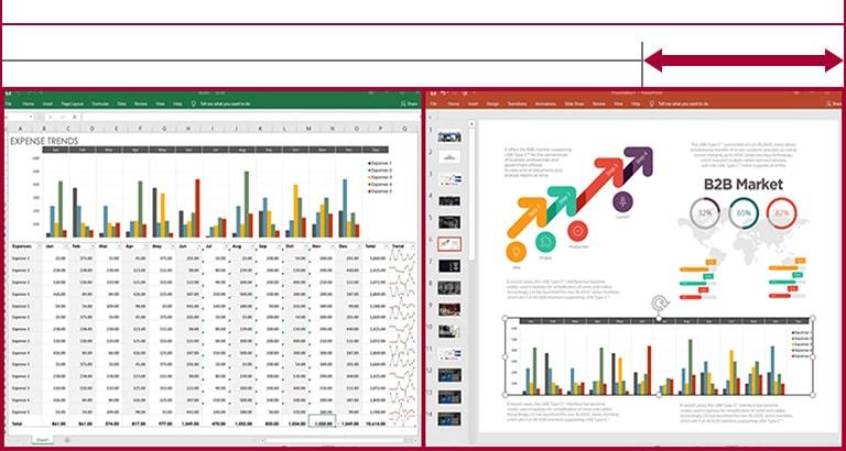 Ilość miejsca na ekranie monitora o proporcjach 21:9 UltraWide wystarczy do wyświetlenia tabeli danych i slajdów obok siebie w odróżnieniu od monitora o proporcjach 16:9.