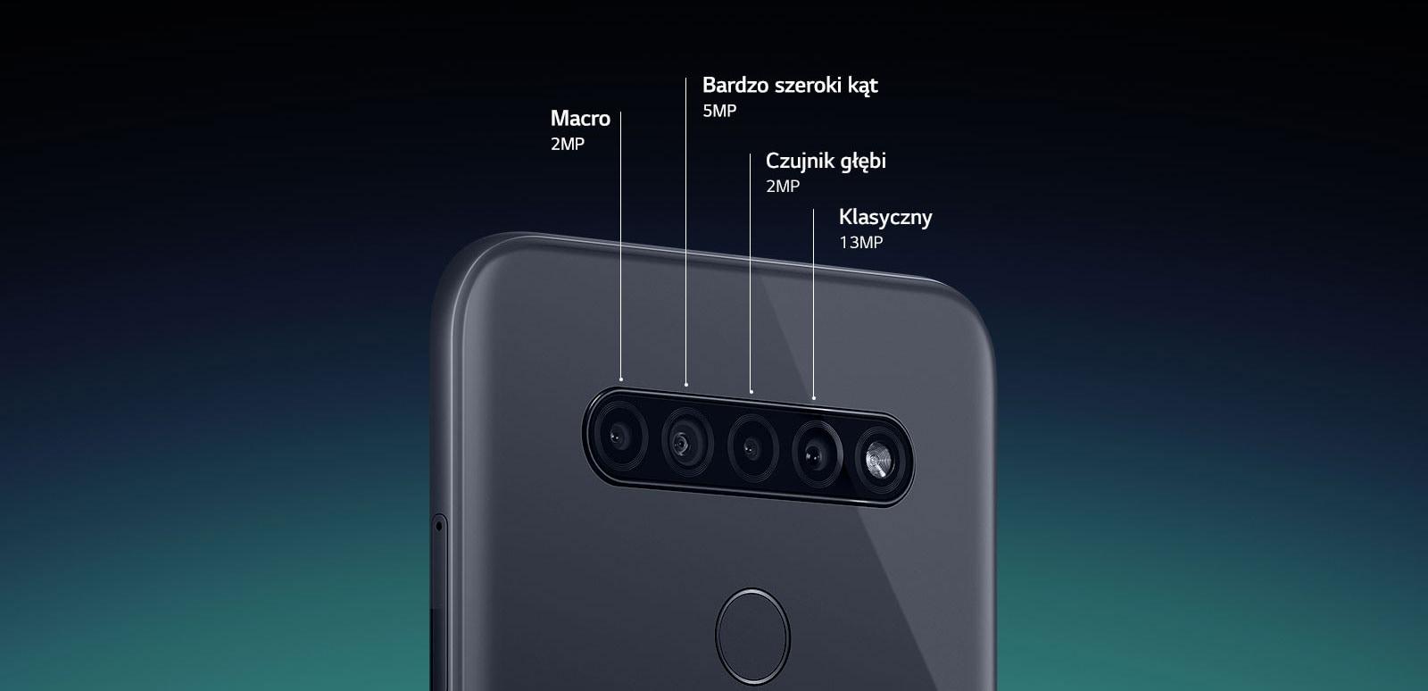 Widok smartfona z tyłu ukazujący cztery aparaty