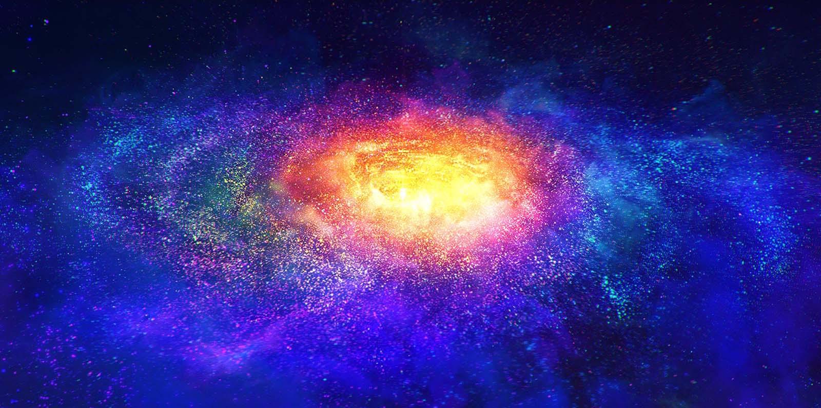 Miliony kolorowych drobin w przestrzeni