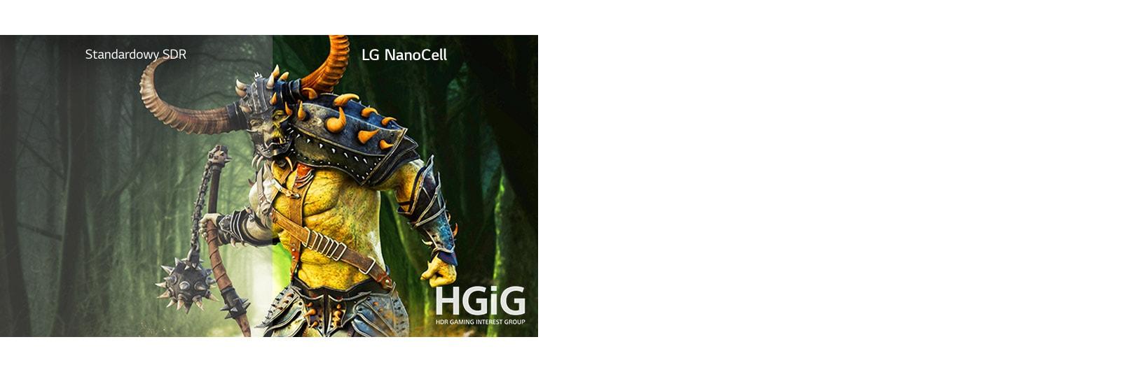 Scena z gry przedstawiająca potwora pokazana w połowie na ekranie zwykłego telewizora i w połowie na ekranie telewizora LG NanoCell z HDR