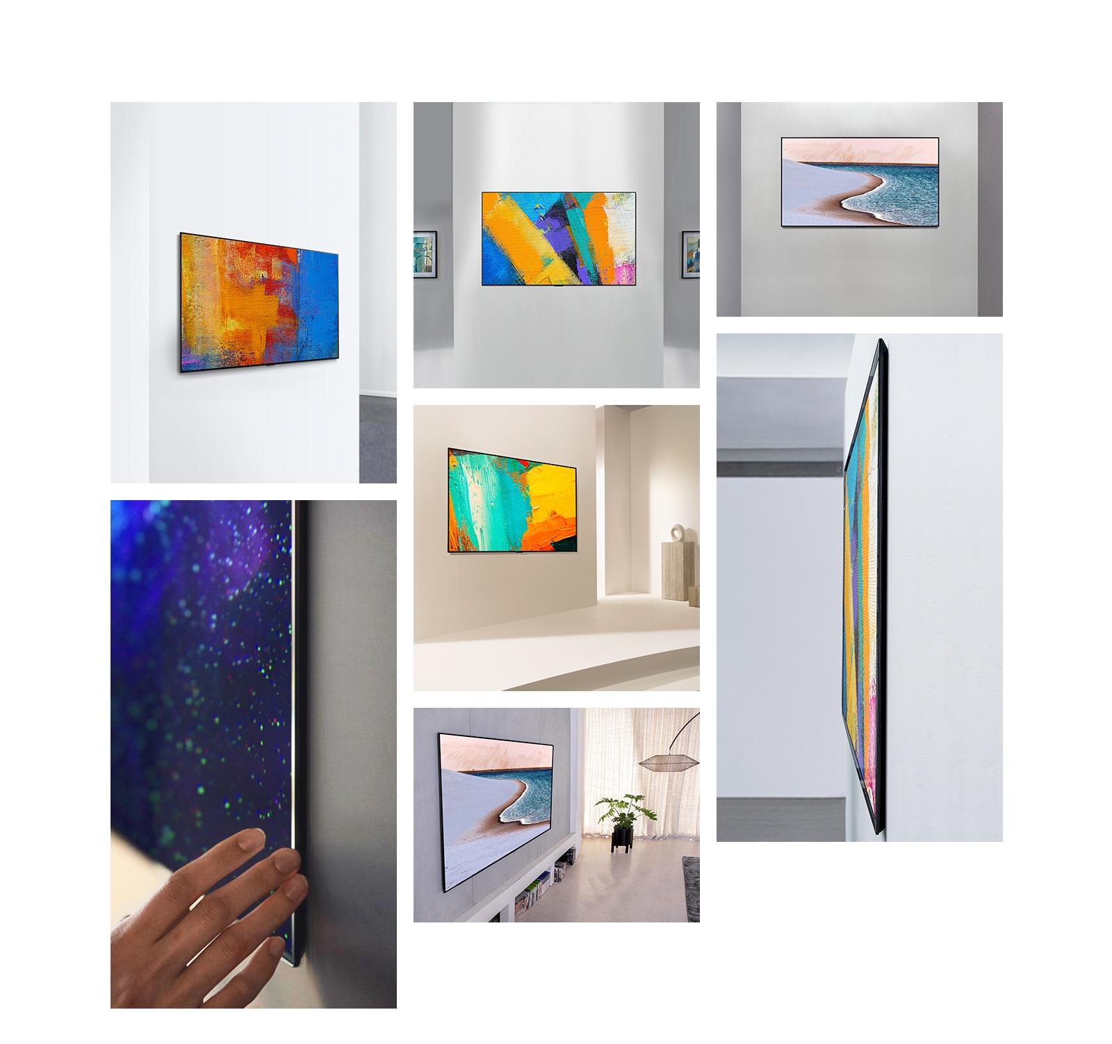 LG Gallery Design Вид сбоку телевизора, который эстетически выступает из стены, как произведение искусства. LG Gallery Design Вид спереди телевизора, который эстетически выступает из стены, как произведение искусства. Вид спереди телевизора LG Gallery Design, который хорошо гармонирует со стеной, изображая пляжный образ. LG Gallery Design Телевизор крупным планом, который хорошо гармонирует со стеной, демонстрируя изображение галактики. LG Gallery Design Вид сбоку телевизора, который хорошо гармонирует со стеной, изображающей произведение искусства. LG Gallery Design Вид сбоку телевизора, который хорошо гармонирует со стеной, изображающей произведение искусства.LG Gallery Design Вид сбоку на телевизор, который хорошо гармонирует со стеной, изображая пляжный образ.