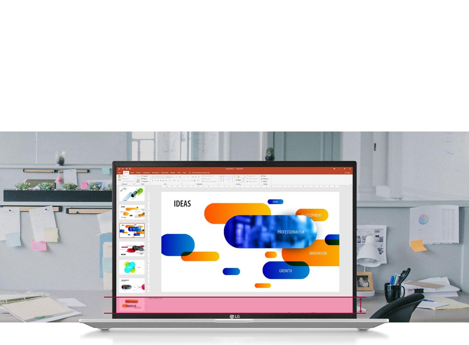Duży ekran o proporcjach 16:10 pozwala wyświetlić więcej danych w prezentacji PowerPoint