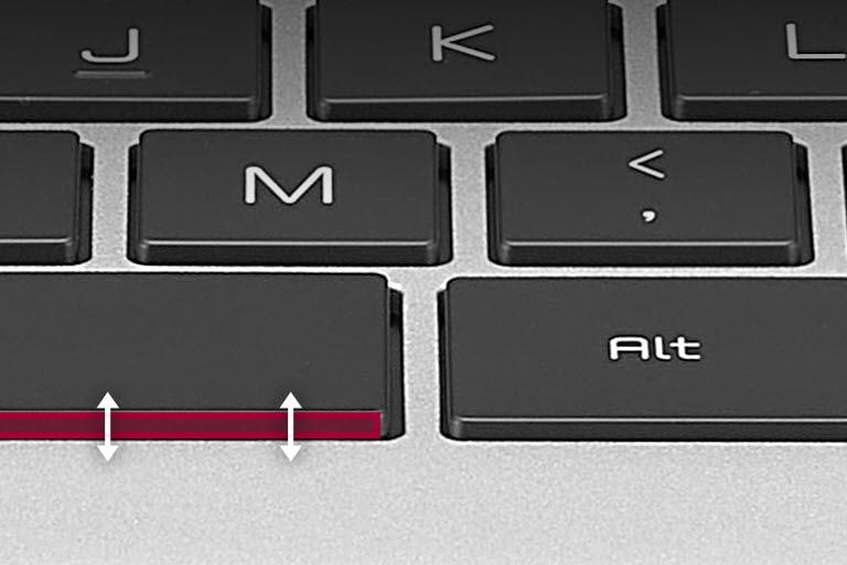 Zwiększony skok klawisza z 1,5 mm do 1,6 mm