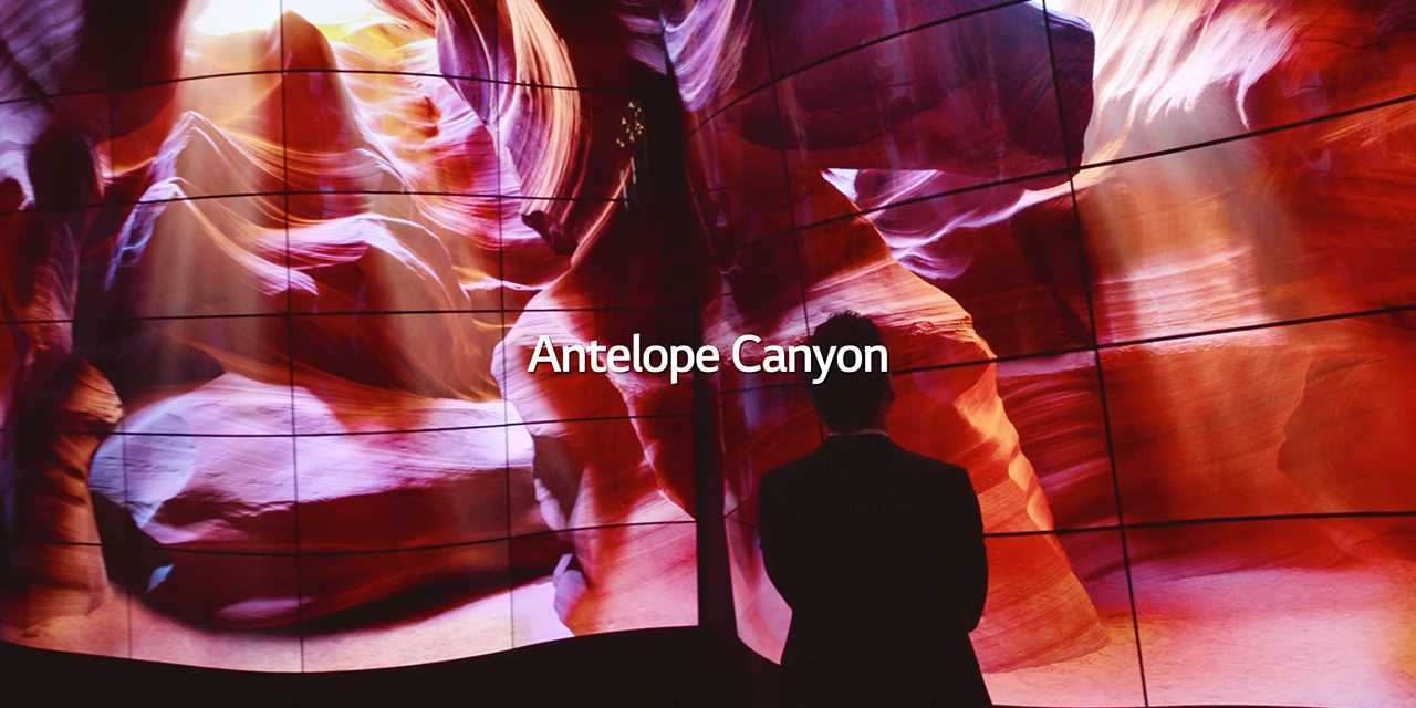 LG presented new lg oled canyon to bring the most stunning oled experience at lg ces 2018 showing Antelope canyon.