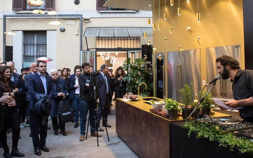 A demonstration takes place within the Signature Kitchen Suite, on show at Milan Design Week | More at LG MAGAZINE