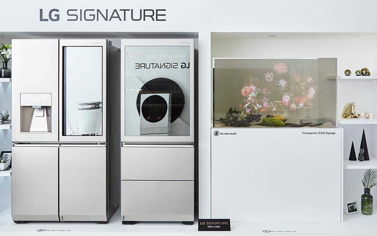 The LG SIGNATURE Refrigerator sits alongside the LG transparent signage, on show at Milan Design Week | More at LG MAGAZINE