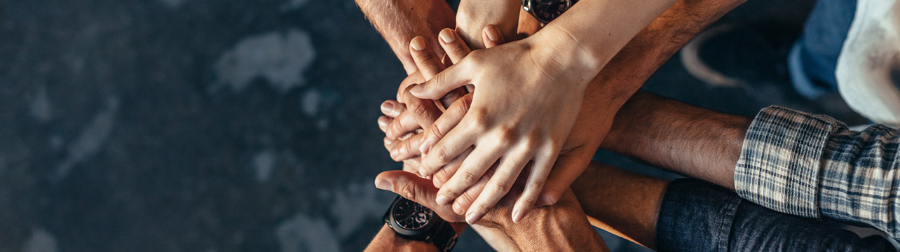 The image of people joining hands describes the value LG places in diversity and teamwork