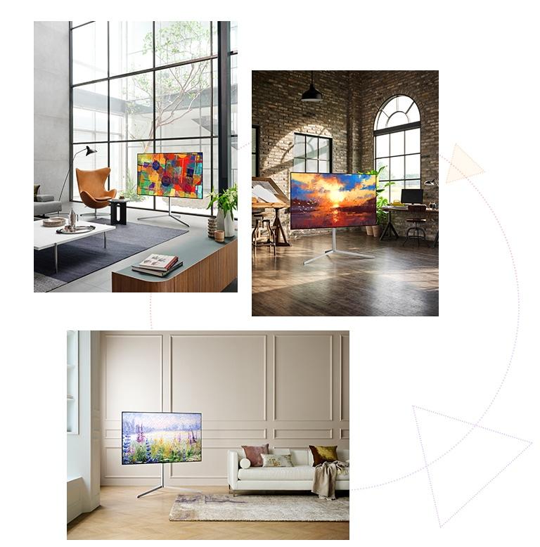 Trei televizoare cu aspect de galerie de arta pe un suport, aratand ca niste opere de arta