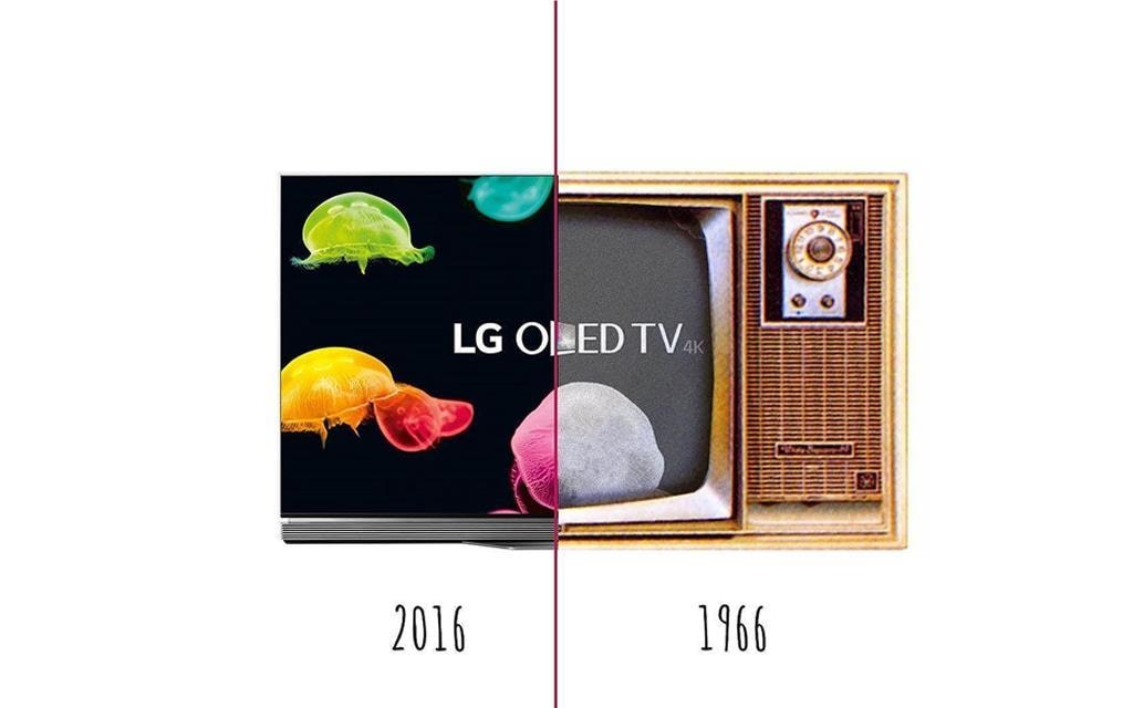 An image of LG TV half in modern OLED TV and the other half in old TV from 1966