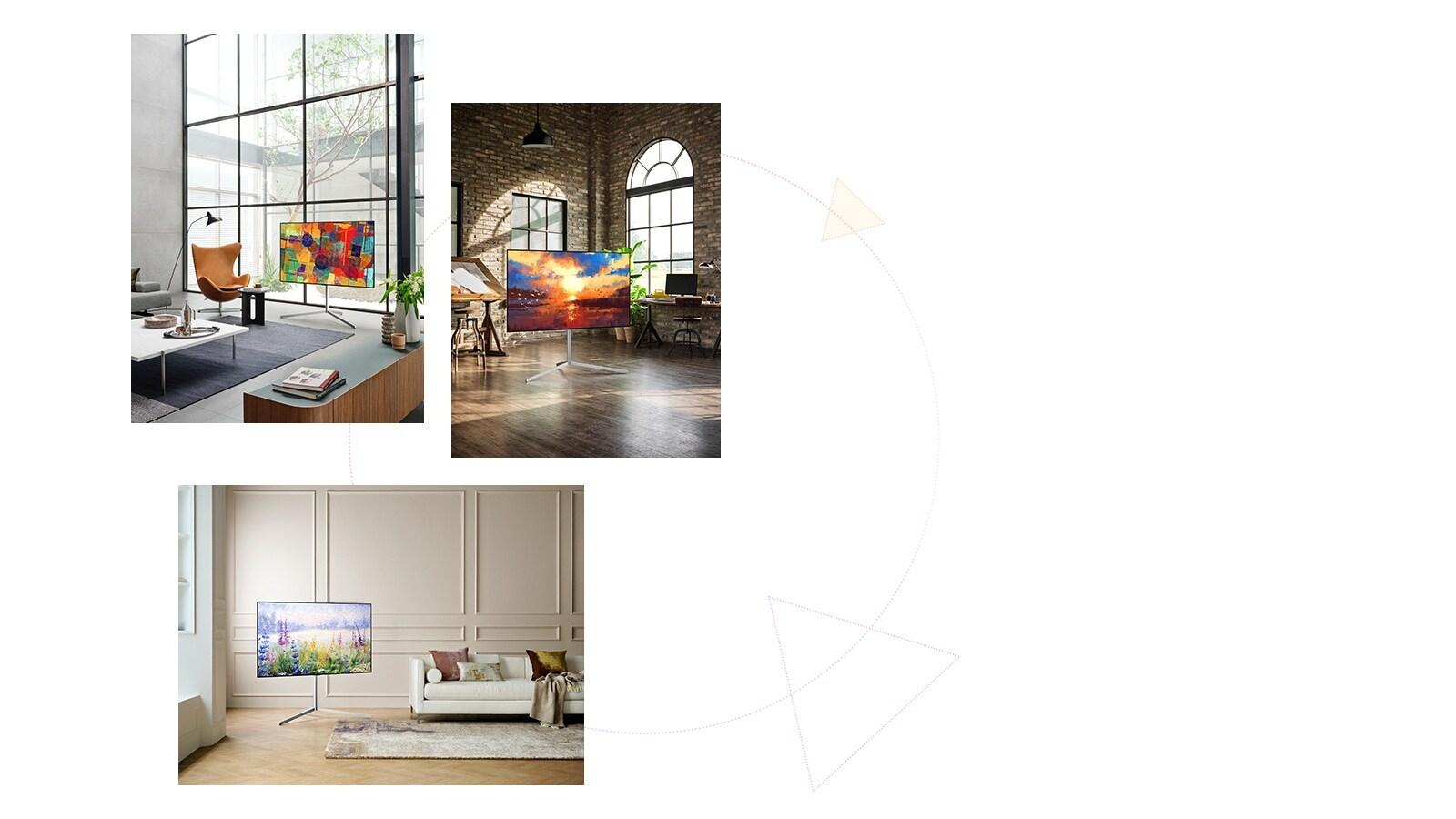 Trije televizorji Gallery Design s stojalom so prikazani kot umetniška dela, ki se prilegajo vsakemu ambientu