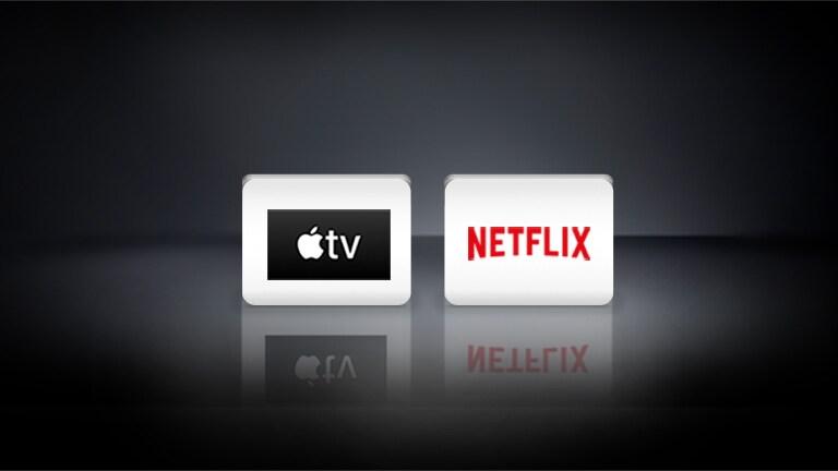 Logotip Apple TV in logotip Netflix sta na črni podlagi vodoravno poravnana.