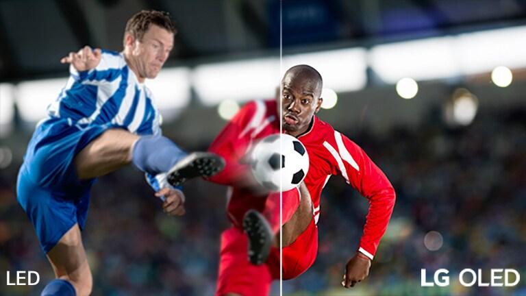 Prizor z igranjem nogometa na zaslonu, razdeljenem na dva dela zaradi vizualne primerjave.  Na sliki je besedilo LCD / LED TV v spodnjem levem kotu in logotip LG OLED TV v spodnjem desnem kotu.