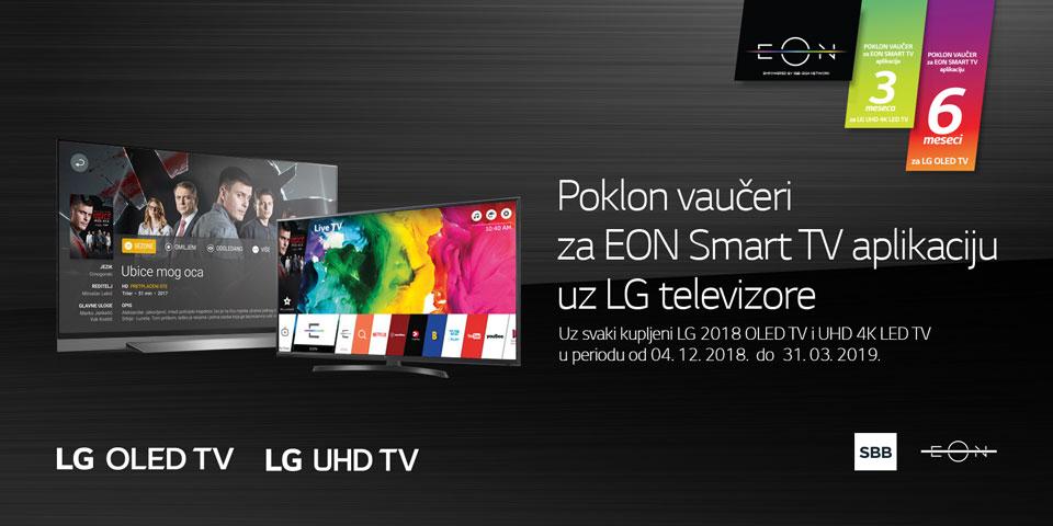 Poklon vaučeri za EON Smart TV aplikaciju uz LG televizore