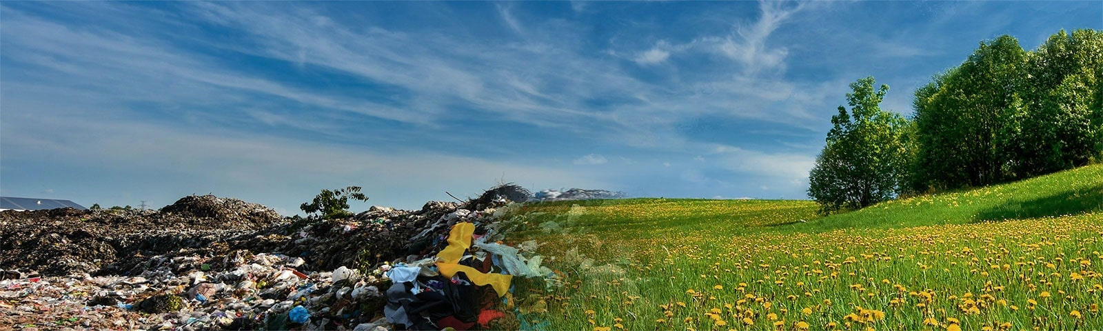 Image of two contrasting scenes : textile landfill and field with full of flowers.