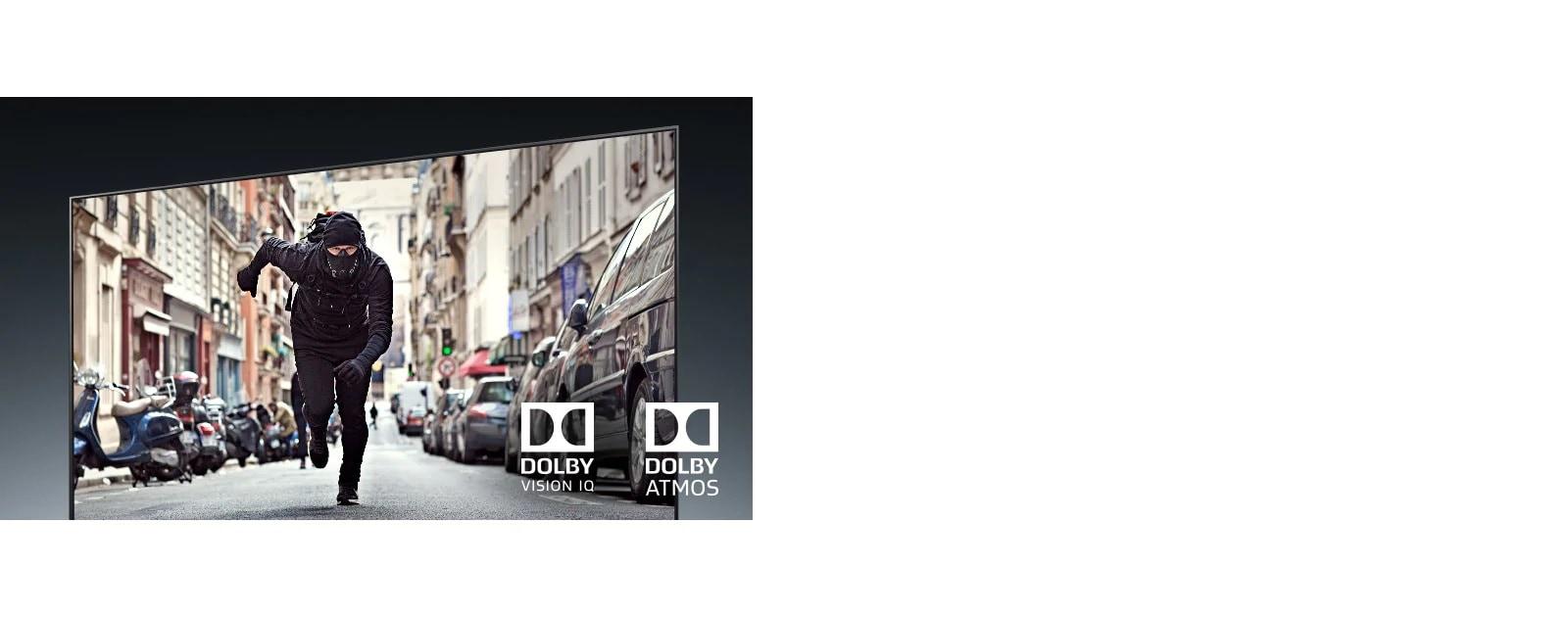 Экран телевизора с изображением бегущего разбойника в фильме-боевике