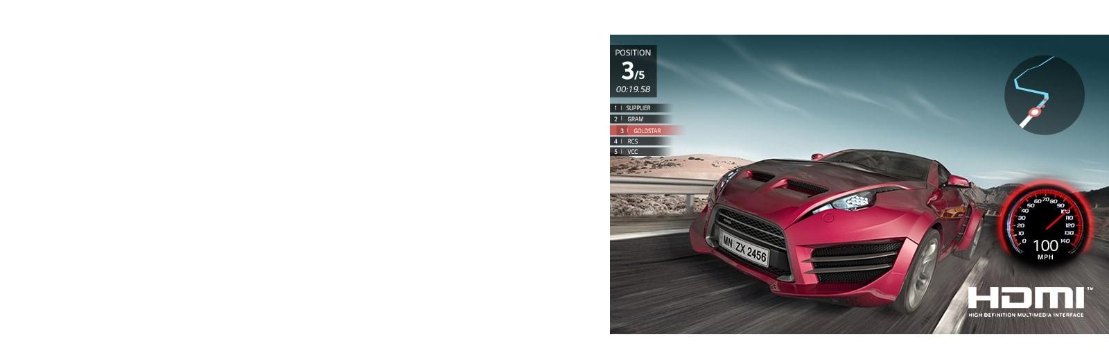 Сцена из автомобильной гоночной игры. Красная машина показала близкий рейтинг третьего места.