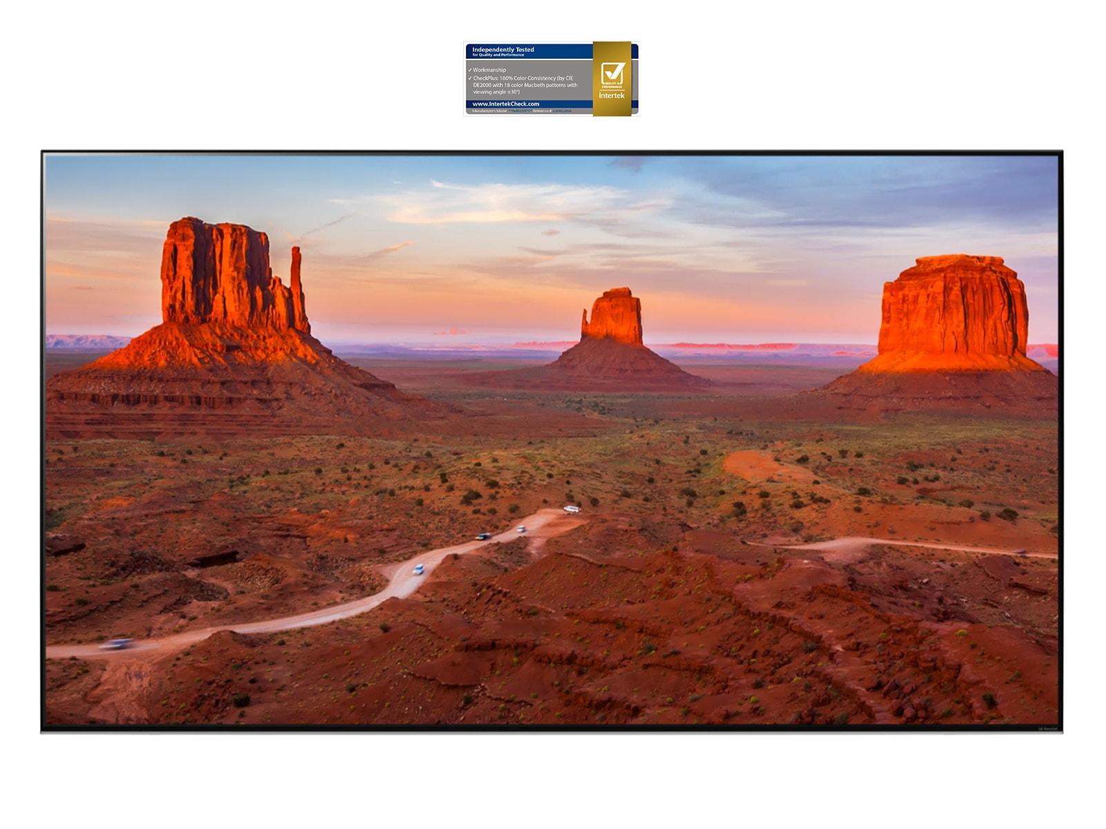 Экран телевизора с великолепным пейзажем, демонстрирующий точность изображения под любым углом (просмотр видео).