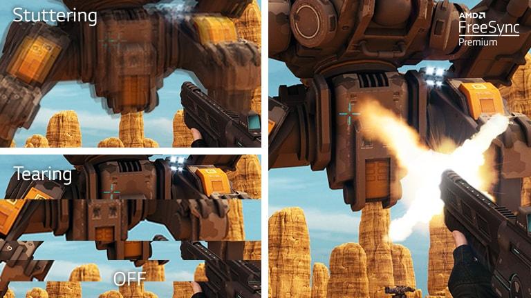Экран телевизора, на котором демонстрируется космический корабль, двигающийся и стреляющий в городе, и графический интерфейс оптимизатора игр LG NanoCell слева, позволяющий настраивать параметры игр.