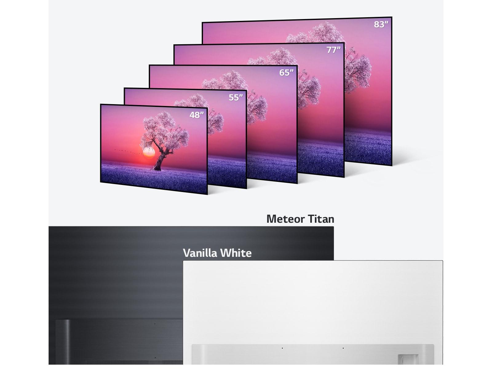 Линейка телевизоров LG OLED TV различных размеров от 48 до 83 дюймов, а также в светло-черном и ванильно-белом цвете.
