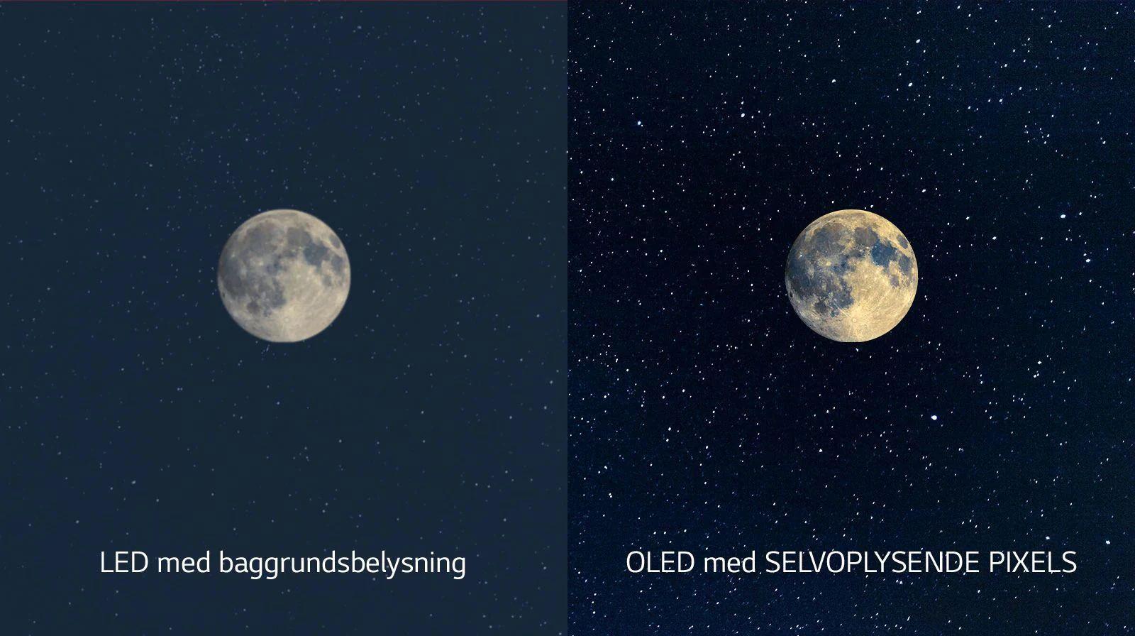 Изображение луны: слева показан LED-дисплей в неглубоким черным цветом, а справа — OLED с идеальным черным (просмотр видео)