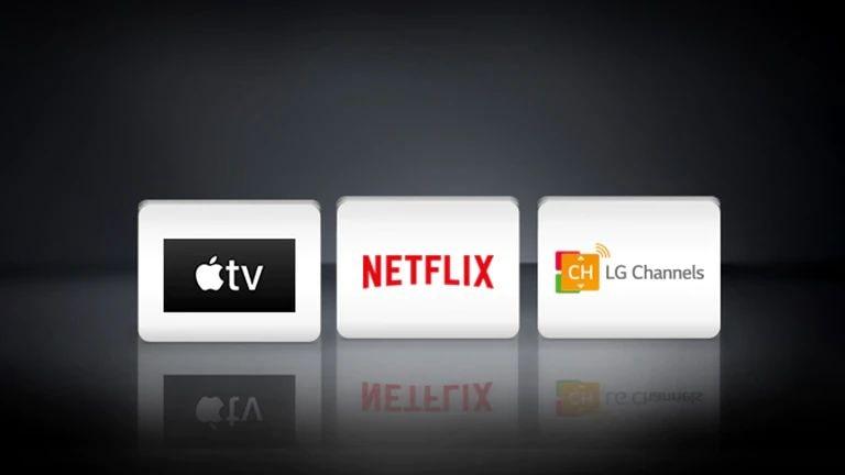 Логотипы LG Channels, Netflix и Apple TV, расположенные горизонтально на черном фоне.