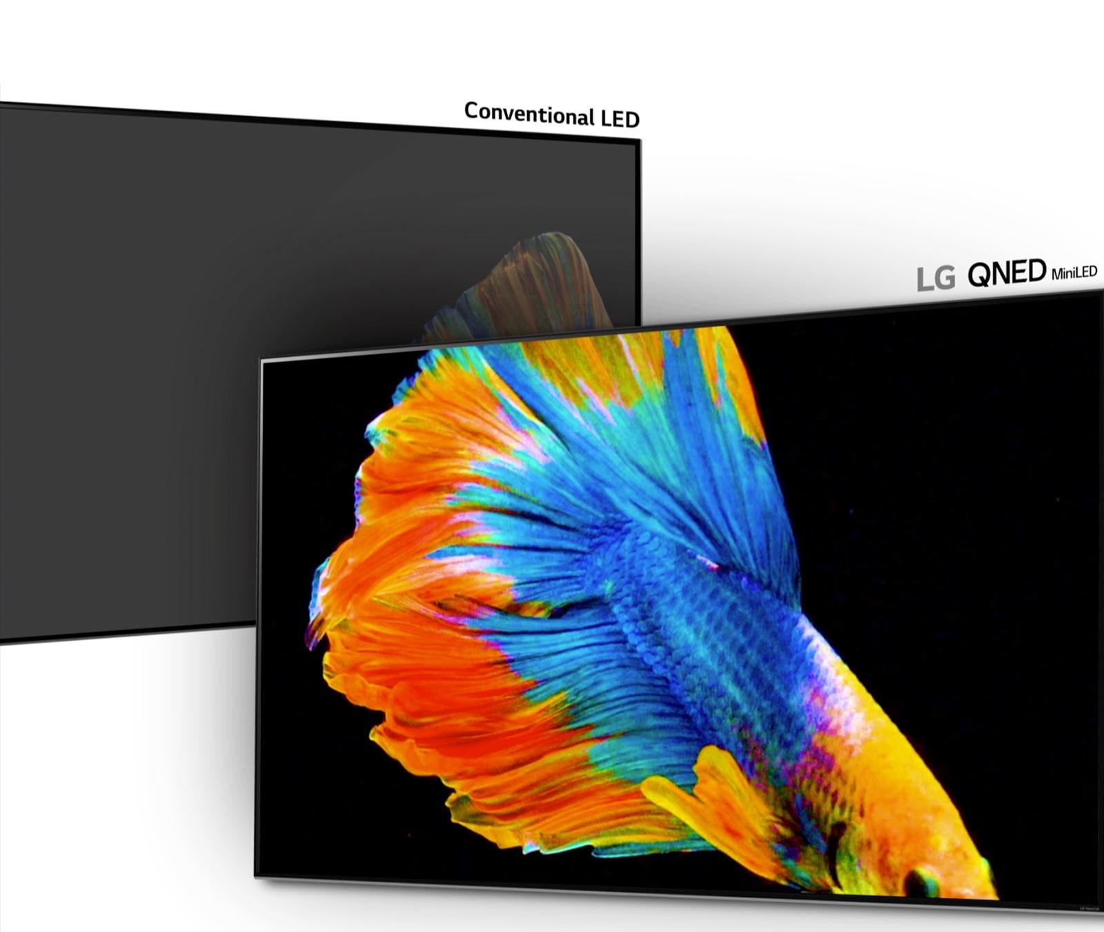 Изображение бойцовой рыбки: половина на обычном дисплее LED с меньшим количеством зон затемнения и менее насыщенным черным цветом, половина на дисплее LG QNED Mini LED с большим количеством зон затемнения и более глубоким черным цветом (воспроизвести видео).