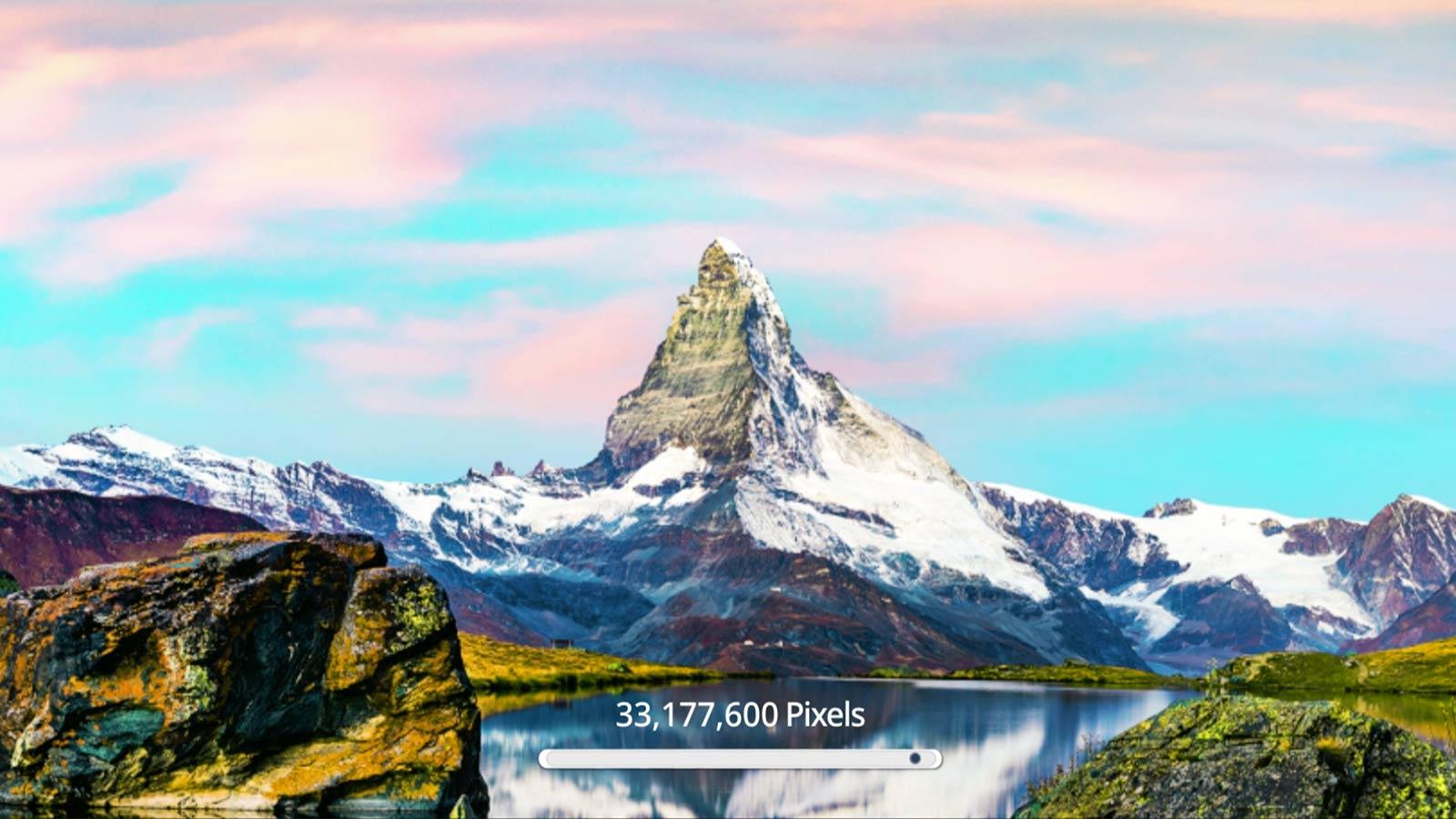 Изображение с горой, демонстрирующая улучшение качества изображения по мере увеличения количества пикселей до 33 177 600 при разрешении 8K (воспроизвести видео).