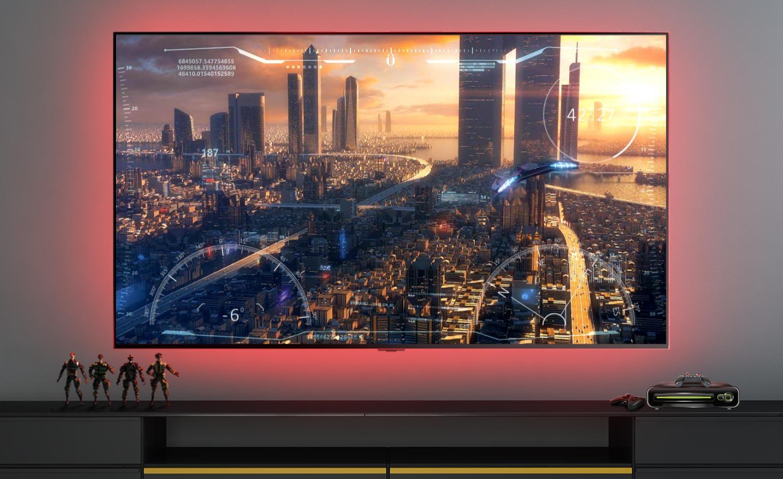 Сцена из видеоигры, в которой показан летящий над городом космический корабль (воспроизвести видео).