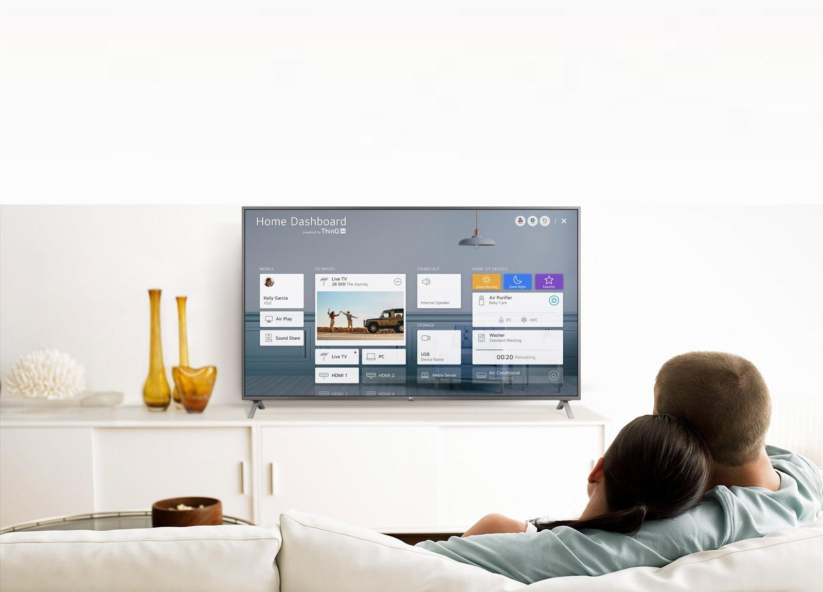 Мужчина и женщина сидят на диване в гостиной перед телевизором, на котором показана панель управления бытовой техникой.