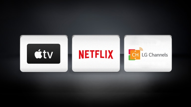 Логотипы LG Channels, Apple TV и Netflix на черном фоне.