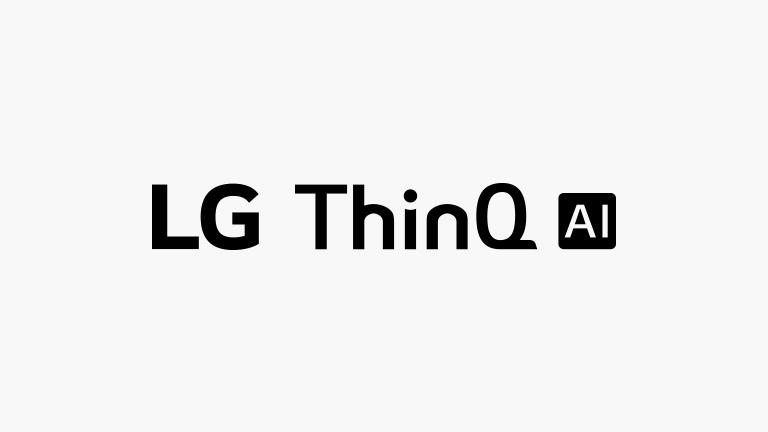 Логотипы LG ThinQ AI, расположенные вертикально на белом фоне.