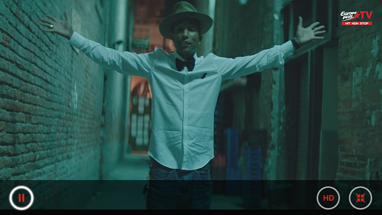 Фарелл Уильямс (Pharrell Williams) в приложении Europa Plus TV на LG Smart TV