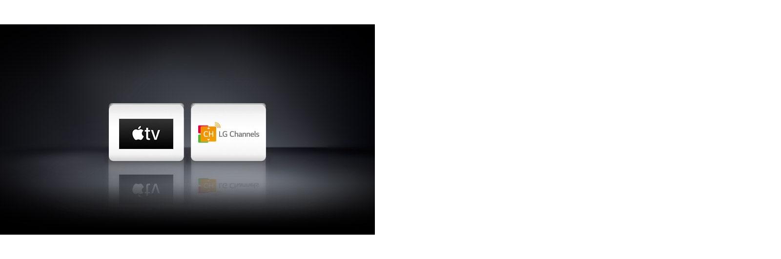 Логотипы четырех приложений слева направо: Apple TV и LG Channels.